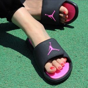 💗New Cute Jordan Slides💗 Black-Pink